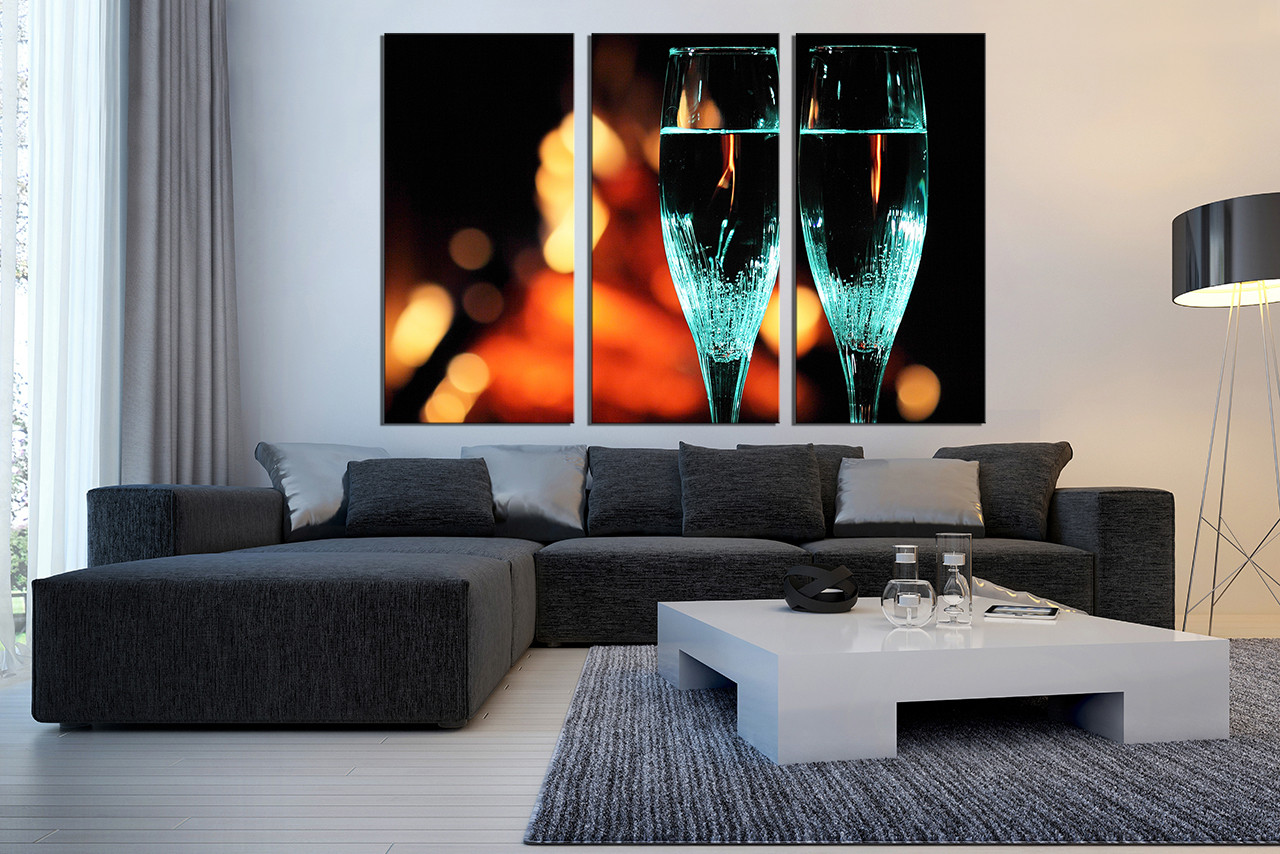 3 Piece Canvas Wall Art, Living Room Wall Decor, Flute Canvas Photography,  Champagne