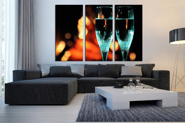 3 piece canvas wall art, living room wall decor, flute canvas photography, champagne huge pictures, blue drinks multi panel canvas