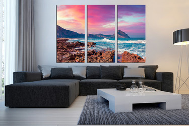 3 piece wall art, living room canvas photography, purple large canvas, landscape wall decor, mountain multi panel canvas