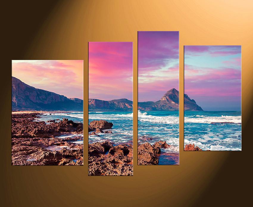 4 Piece Huge Canvas Art, Purple Canvas Photography, Ocean Multi Panel Art,  Home