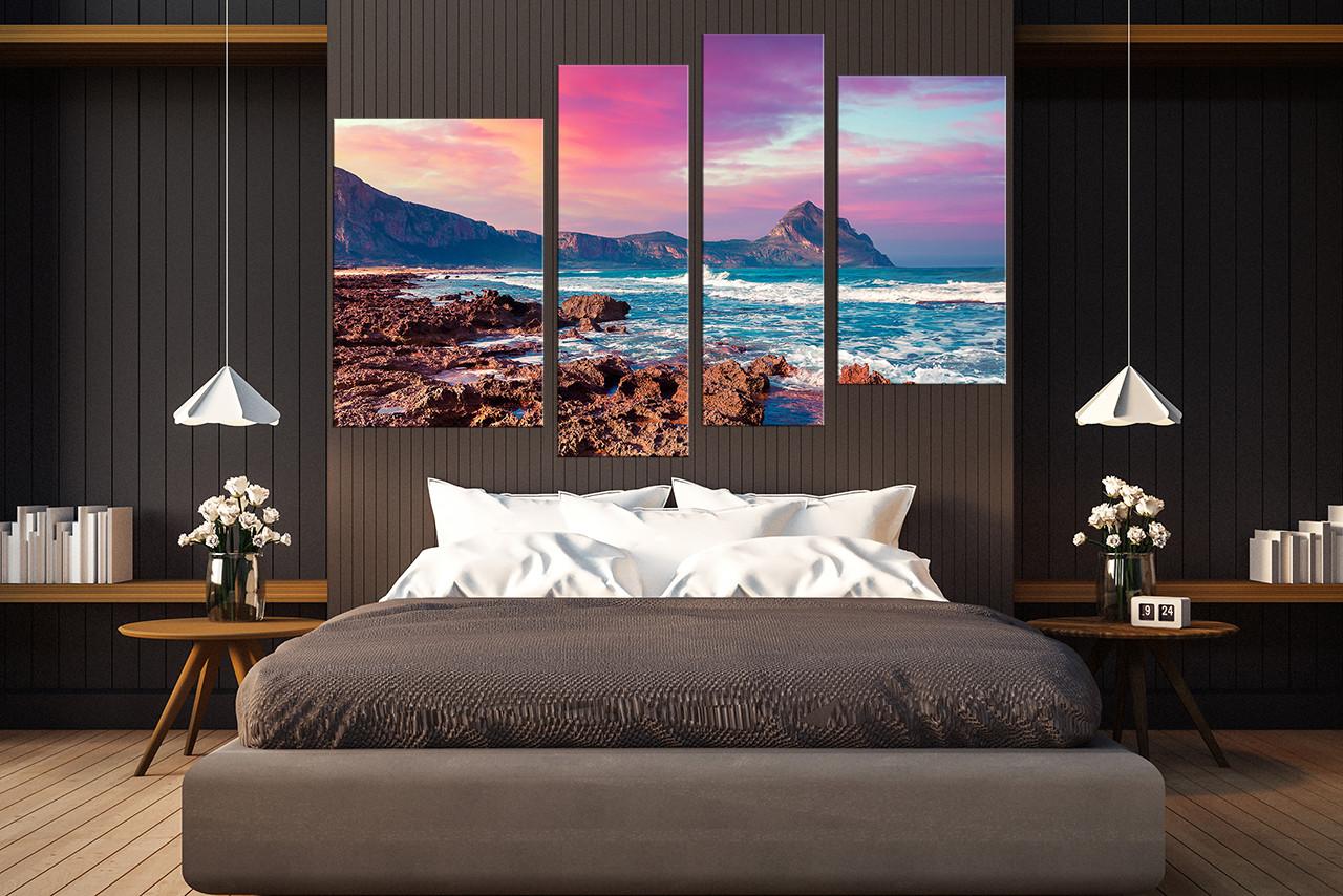 4 piece huge pictures, bedroom canvas photography, purple multi panel canvas,  sea large