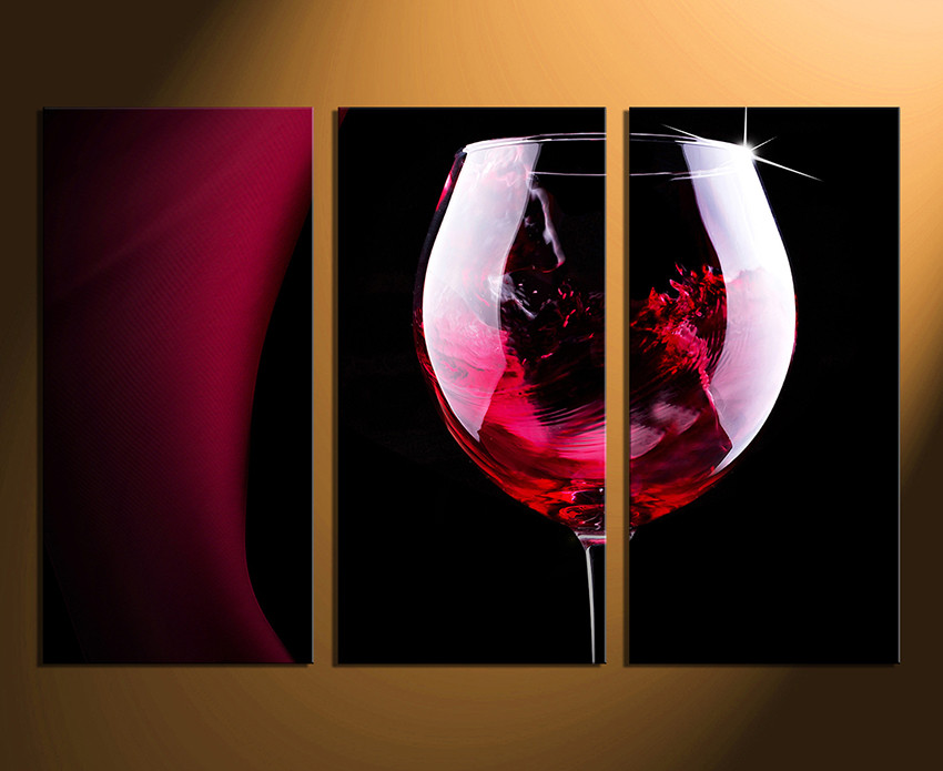 Kitchen Canvas Wall Art 3 piece multi panel art, red wine canvas wall art, wine glass huge