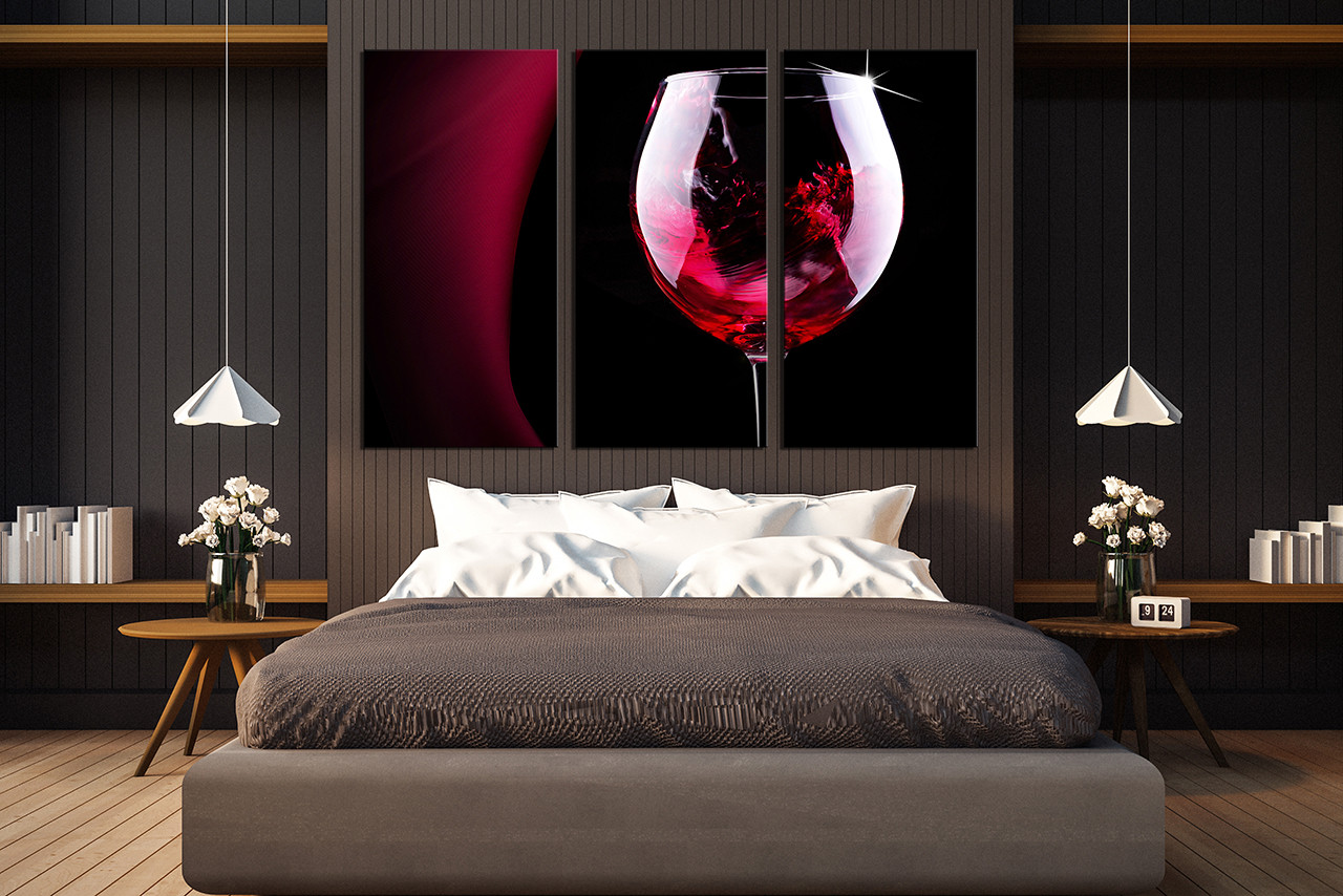 3 Piece Wall Art Set 3 piece multi panel art, red wine canvas wall art, wine glass huge