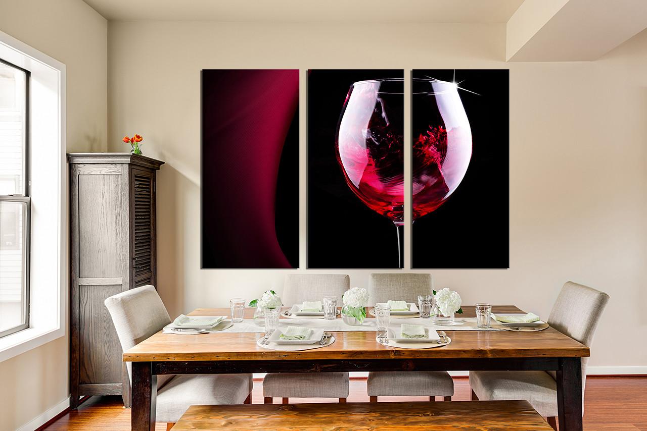 3 Piece Multi Panel Art Red Wine Canvas Wall Art Wine Glass Huge