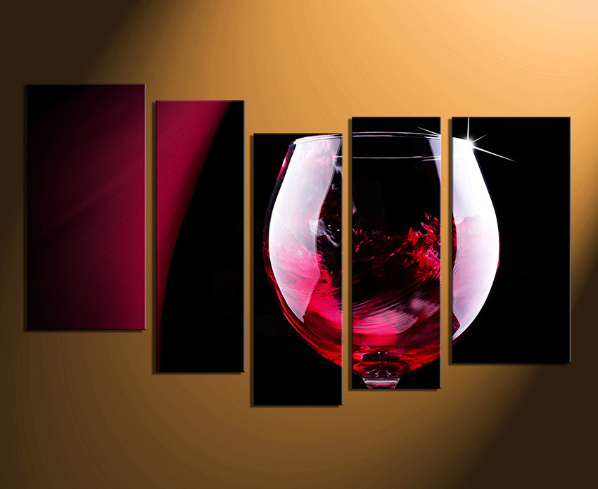 Kitchen Canvas Wall Art 5 piece canvas art prints, red wine canvas photography, wine glass