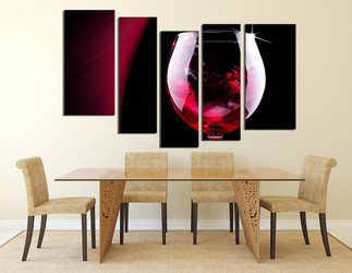 5 piece wall art, dining room wall decor, wine canvas art, wine canvas print, red wine canvas photography