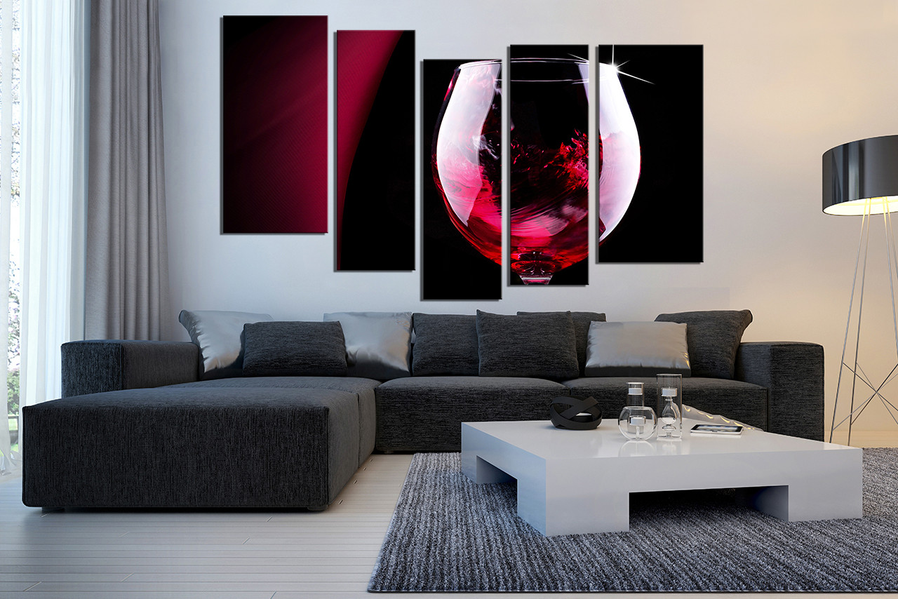 5 piece canvas art prints red wine canvas photography for Red dining room wall art