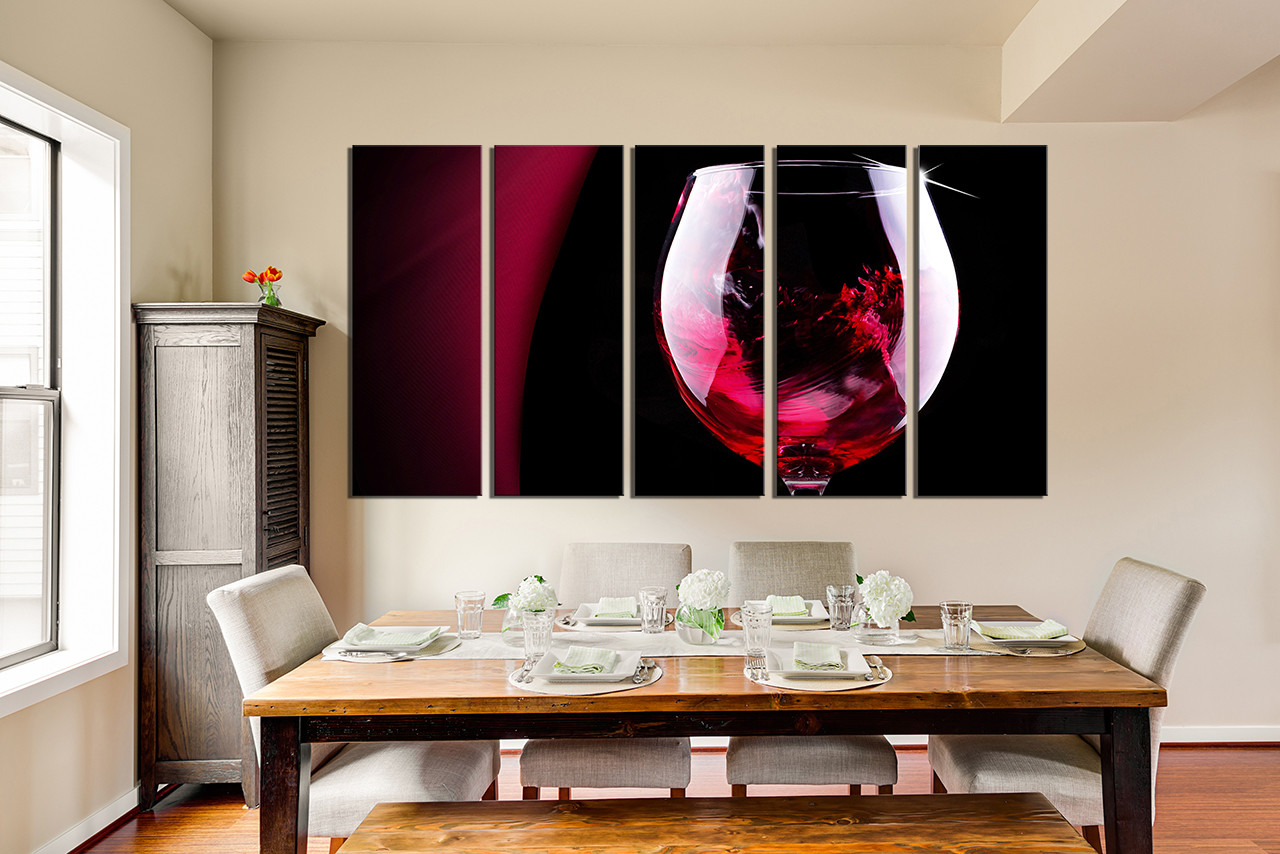 5 Piece Canvas Wall Art Dining Room Decor Wine Multi Panel