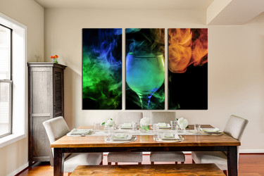 3 piece wall art, dining room canvas photography, green wine glass artwork, wine canvas art, wine artwork