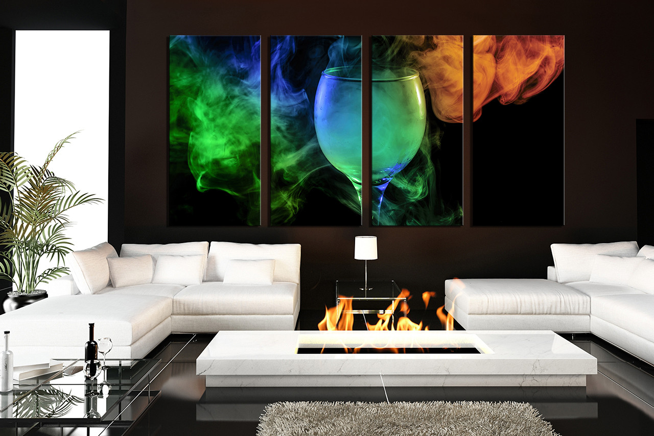4 piece multi panel canvas green canvas art prints smoke for Drawing room pics
