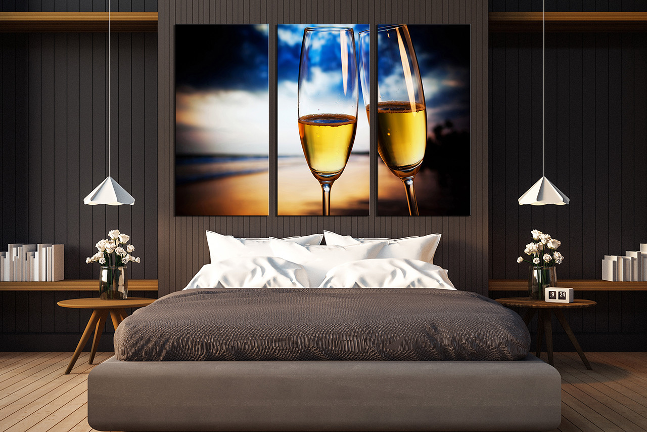 3 piece multi panel art, blue canvas art prints, champagne glasses