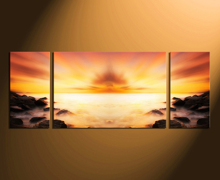 3 Piece Canvas Wall Art, Panoramic Huge Canvas Print, Orange Canvas ...