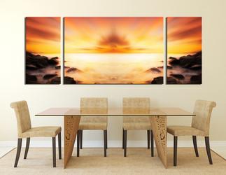 3 piece canvas art prints, dining room wall decor, orange ocean artwork, landscape multi panel canvas