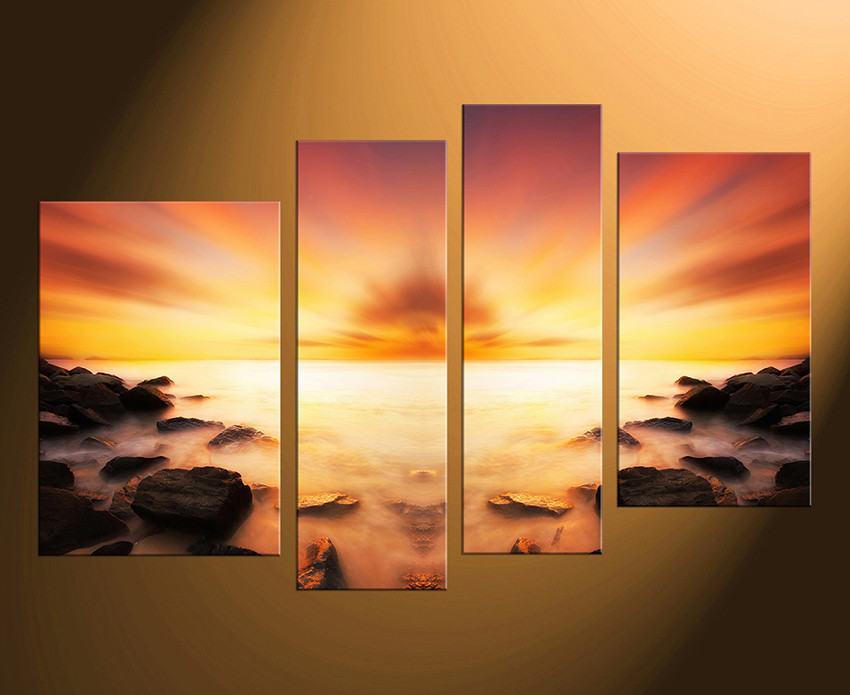 4 Piece Canvas Art Prints, Sea Canvas Photography, Ocean Multi Panel ...