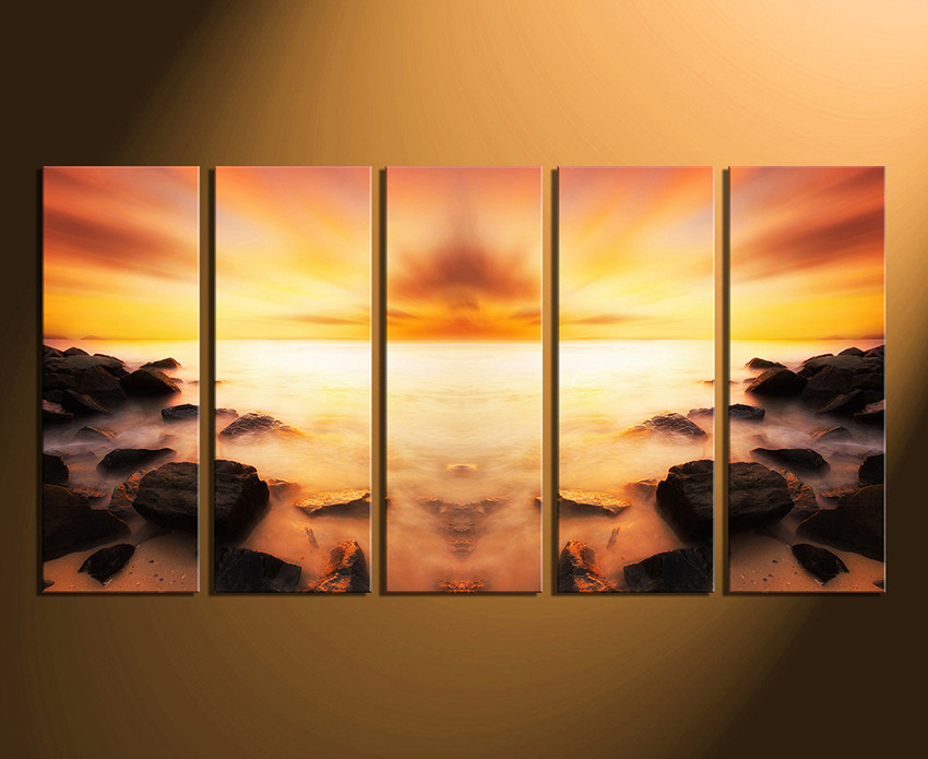 5 Piece Canvas Wall Art, Orange Huge Canvas Print, Ocean Canvas ...