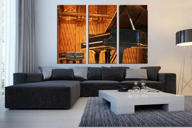 3 piece canvas wall art, music multi panel canvas, orange canvas photography, grand piano large pictures, living room art