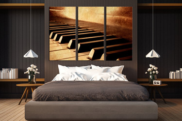 3 piece group canvas, brown multi panel canvas, grand piano huge pictures, music instrument canvas print, bedroom wall decor
