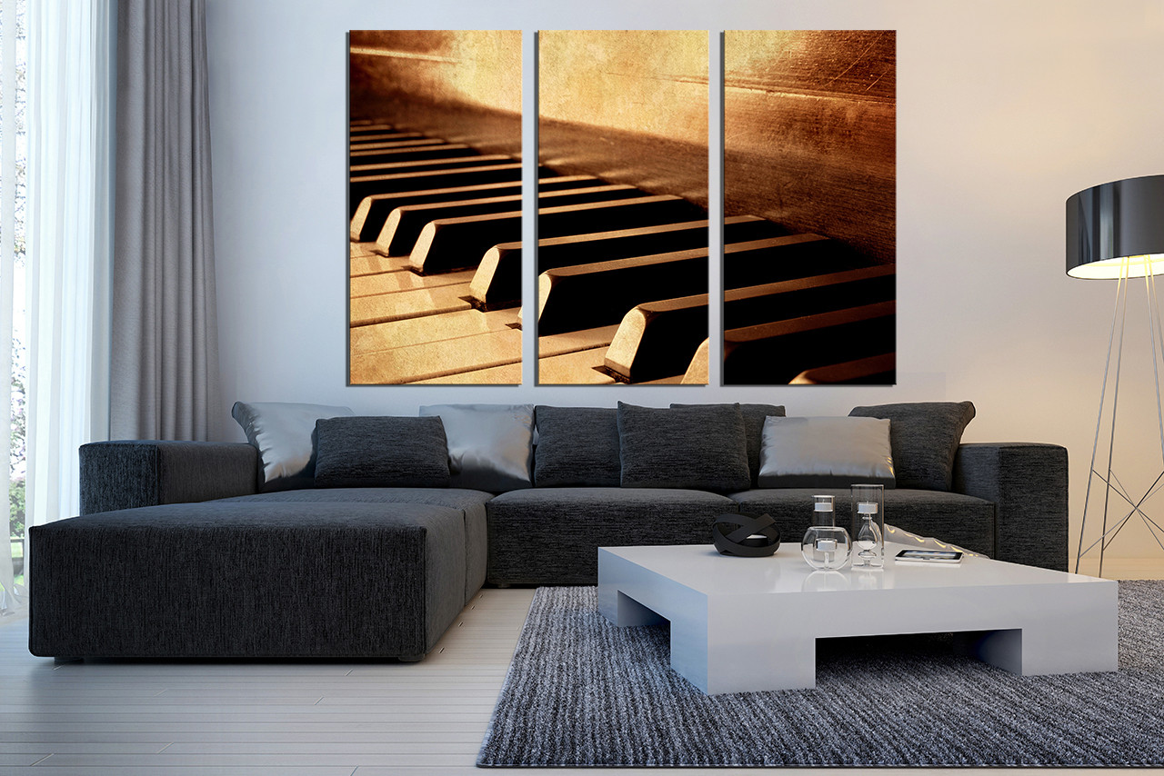 3 Piece Group Canvas, Grand Piano Multi Panel Canvas, Brown Wall Art, Music
