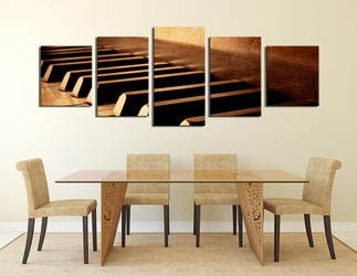 5 piece wall art, dining room wall decor, brown multi panel art, musical instrument artwork, grand piano art