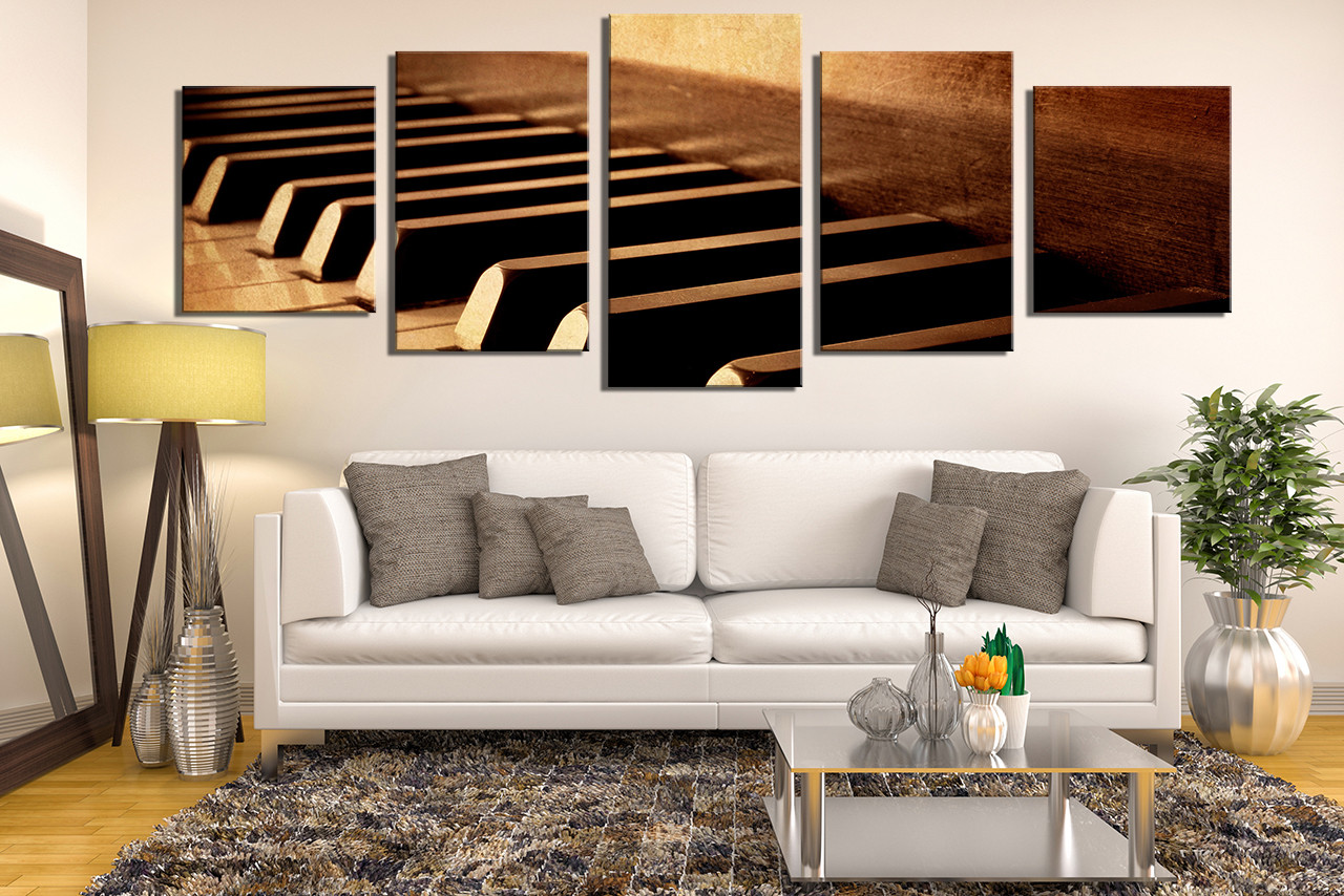 5 Piece Canvas Wall Art, Grand Piano Multi Panel Art, Living Room Wall Art