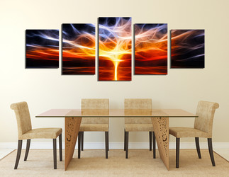 5 piece multi panel canvas, dining room canvas photography, orange abstract wall art, abstract artwork