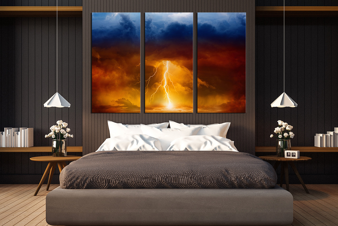 3 Piece Canvas Wall Art, Thunderstorm Huge Canvas Print, Modern ...