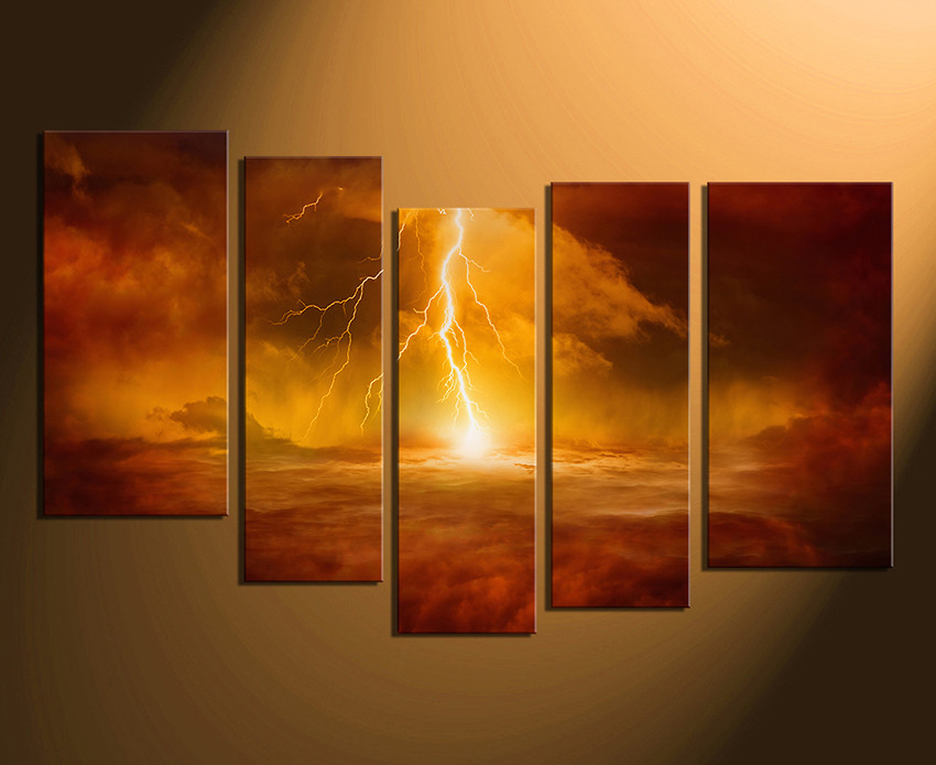 5 piece artwork abstract photo canvas orange huge canvas art modern canvas wall
