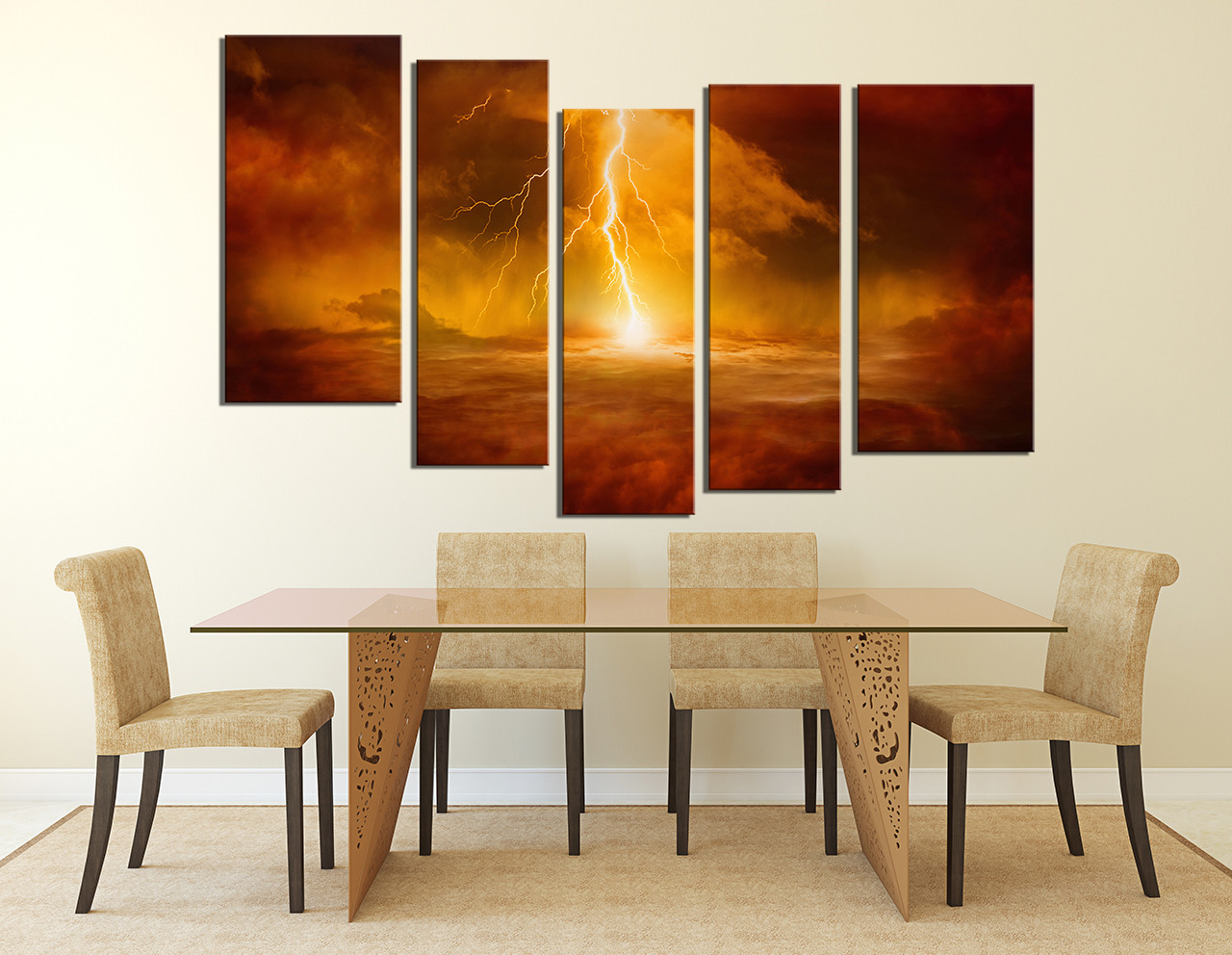Awesome 5 Piece Art, Abstract Art, Orange Photo Canvas, Modern Large Canvas, Dining