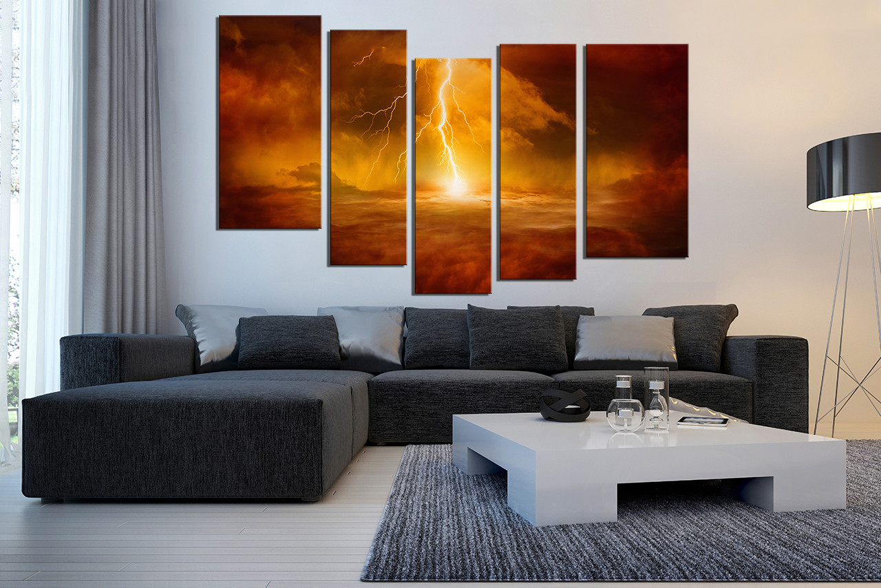 Large Paintings For Living Room 5 Piece Canvas Wall Art Thunderstorm Huge Canvas Art Abstract