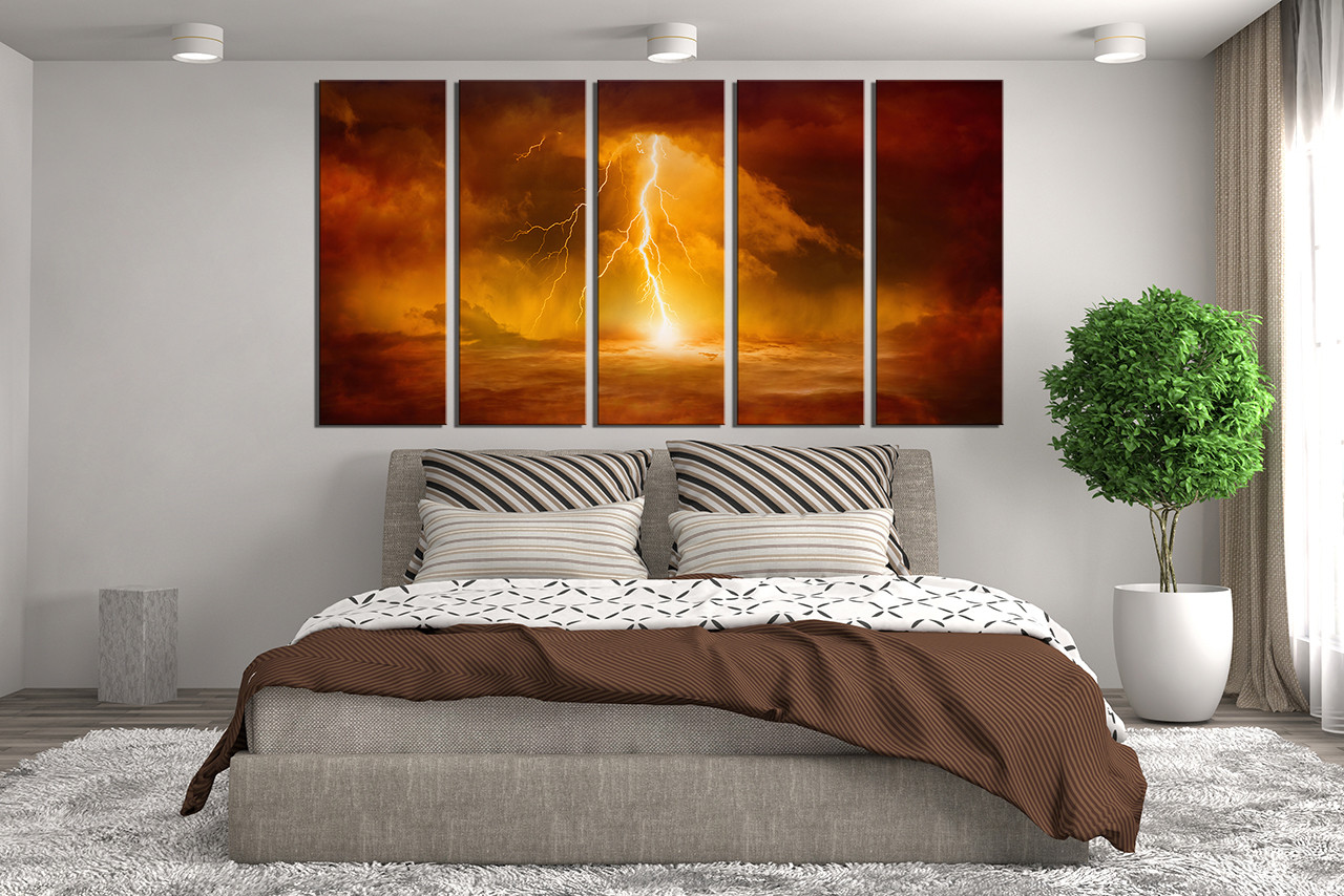 Abstract Wall Decor 5 piece huge canvas print, abstract canvas art prints, orange wall
