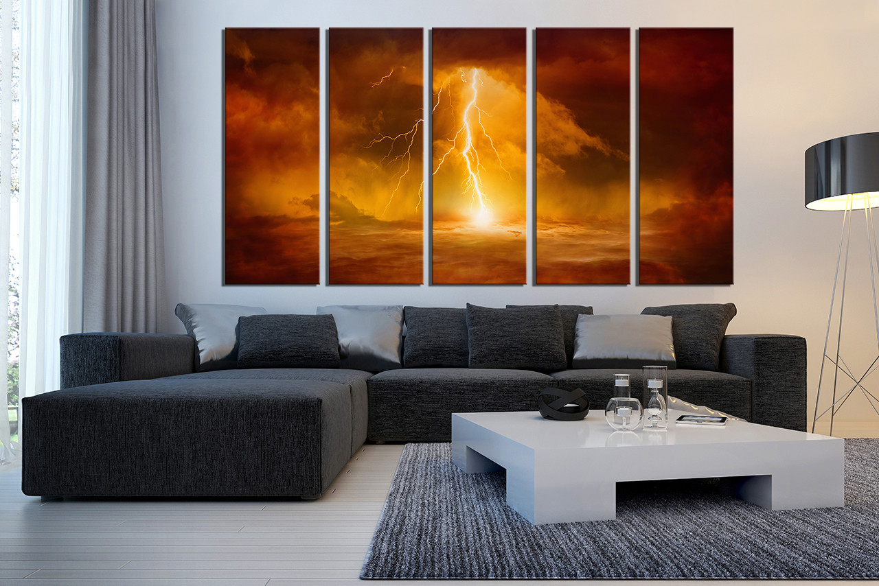 5 piece canvas wall art  oil photo modern artwork abstract decor Piece Huge Canvas Print Abstract Art Prints Orange Wall