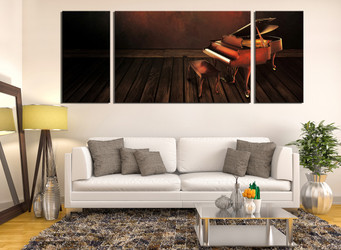 3 piece multi panel canvas, living room canvas art prints, brown musical instrument canvas photography, grand piano group canvas