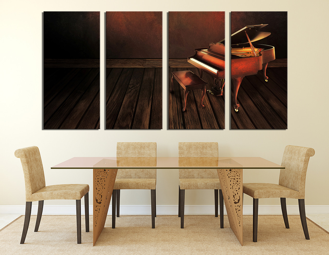 4 Piece Large Pictures, Dining Room Art, Brown Canvas Photography, Grand  Piano Wall