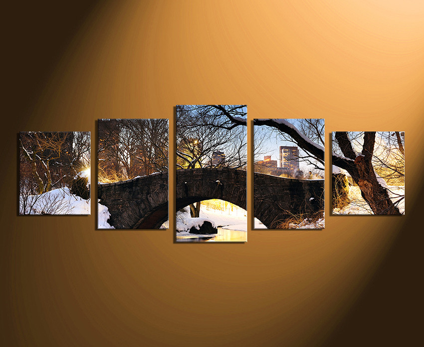 Tree Canvas Wall Art 5 piece artwork, scenery multi panel canvas, snow large pictures