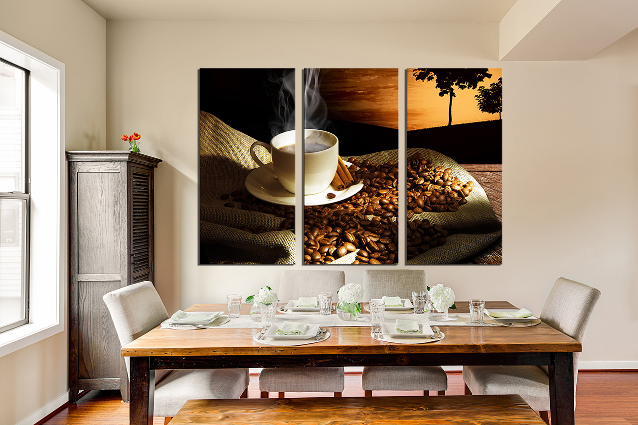 3 Piece Canvas Art Prints, Dining Room Wall Art, Kitchen Wall Decor, Cup Part 79