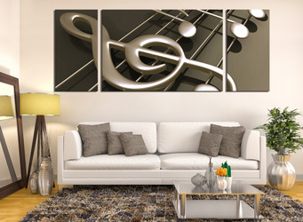 3 piece multi panel canvas, living room artwork, musical notes canvas print, brown canvas art prints, panoramic huge canvas art