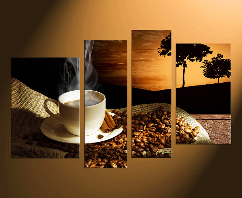 Kitchen Canvas Wall Art 4 piece multi panel canvas, coffee canvas wall art, coffee beans