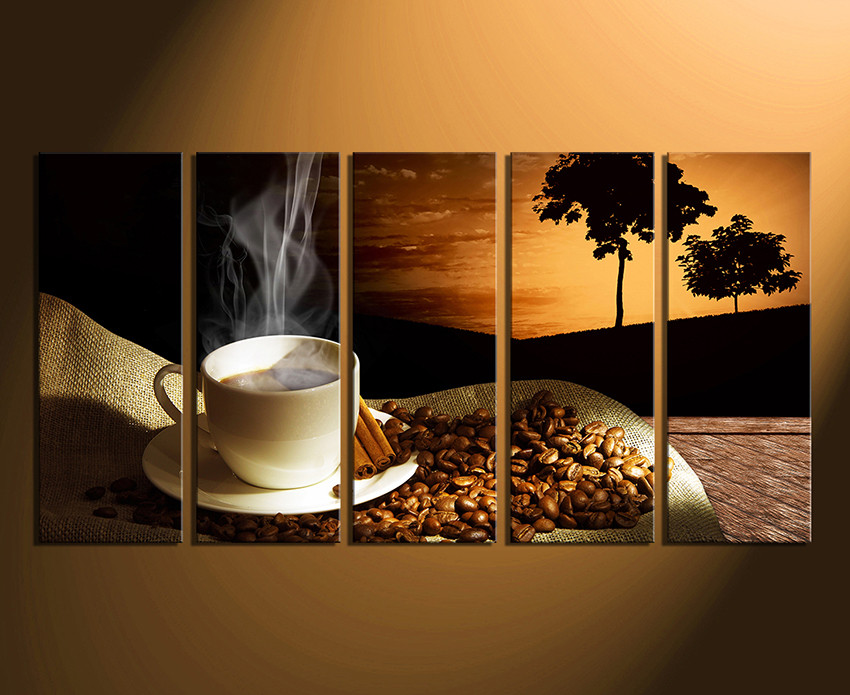 Delightful Home Wall Decor, 5 Piece Canvas Art Prints, Coffee Beans Artwork, Cup Large