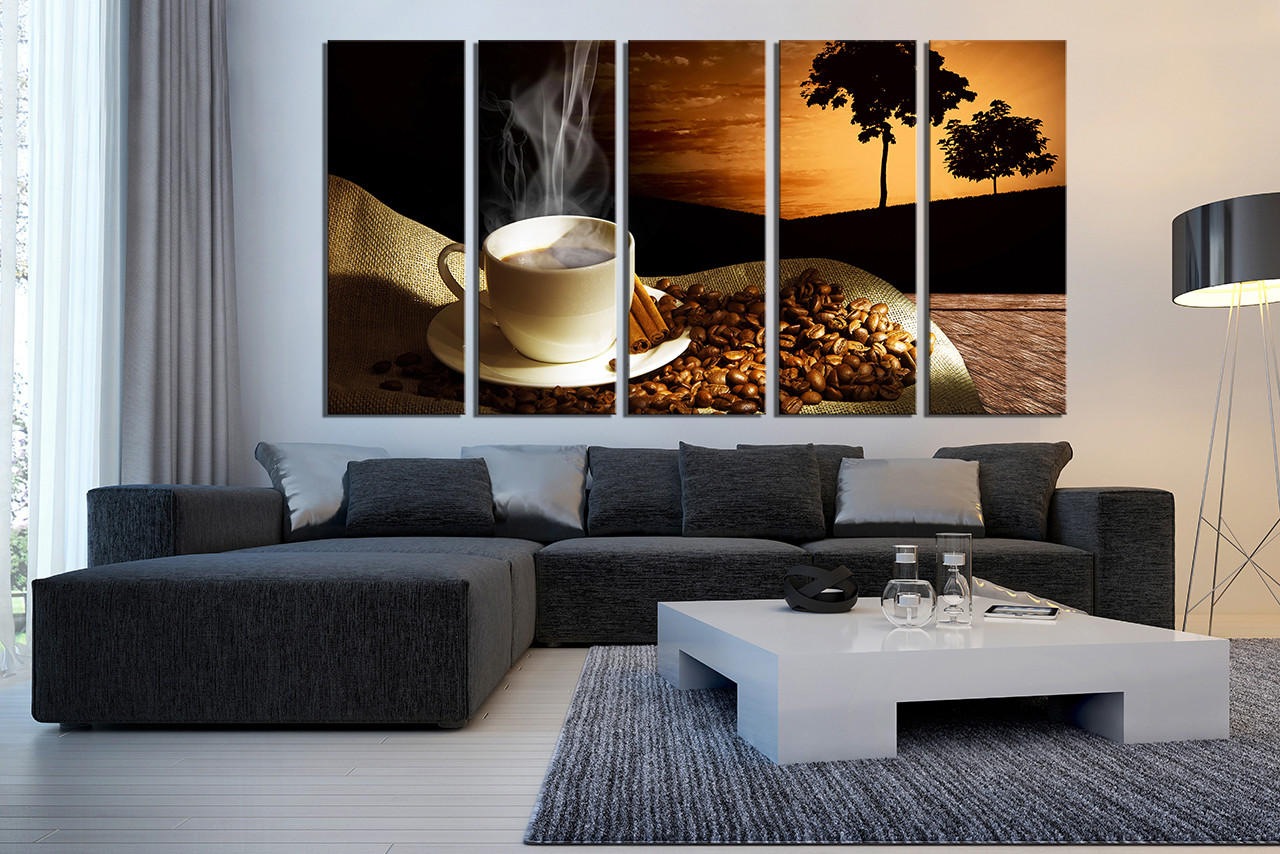 5 Piece Large Canvas, Coffee Wall Decor, Coffee Beans Multi Panel ...