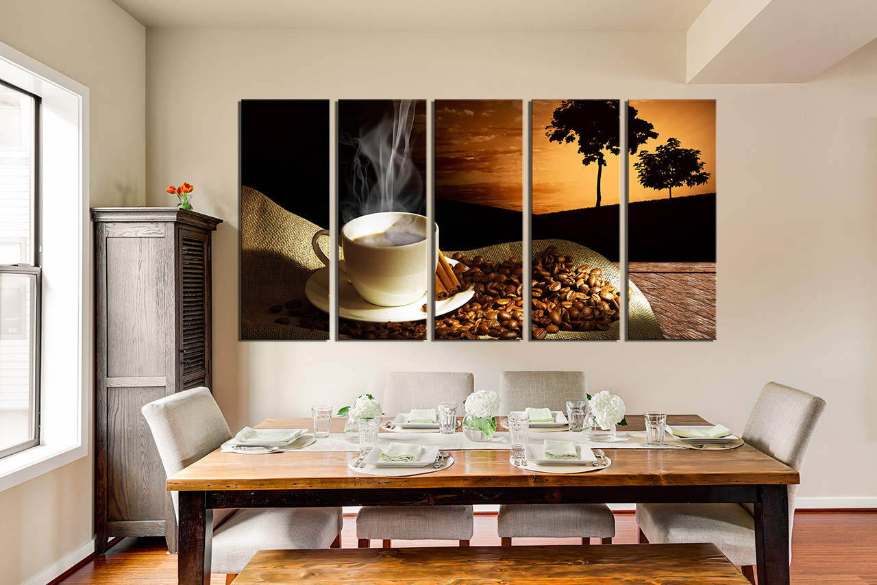Dining Room Art, 5 Piece Canvas Art Prints, Coffee Beans Large Pictures, Cup