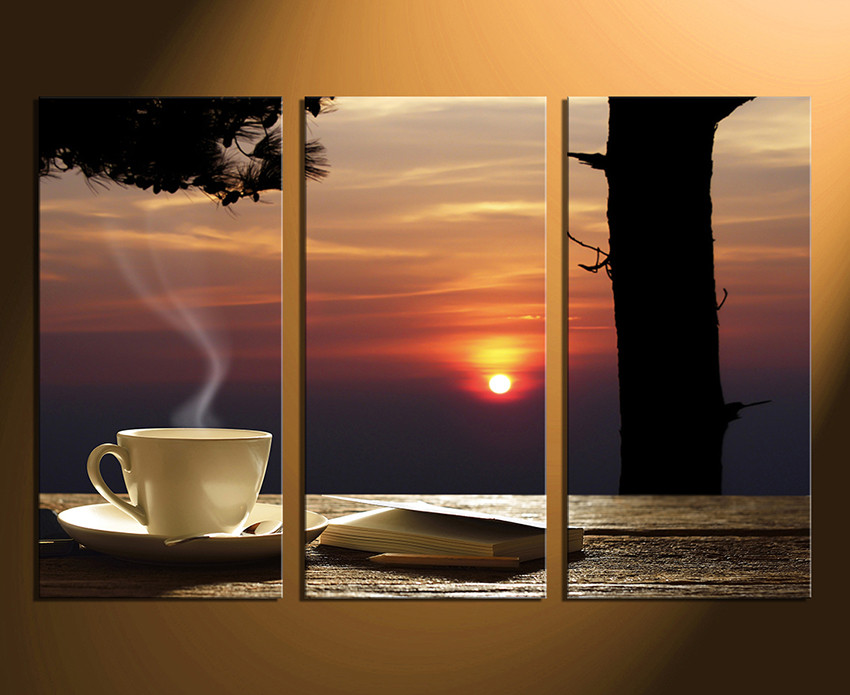 3 Piece Large Pictures, Cup Plate Multi Panel Canvas, Sunset Canvas ...