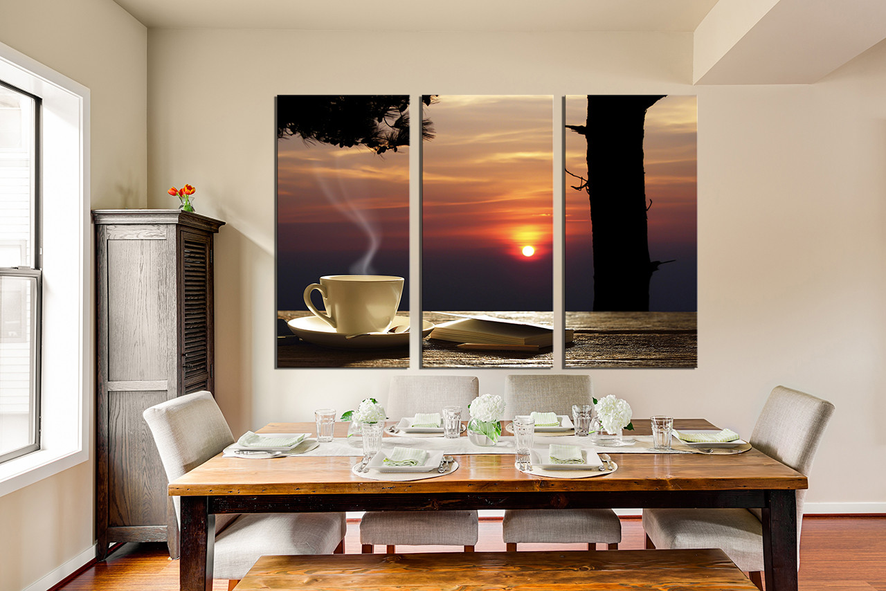 Dining Room Wall Art, 3 Piece Canvas Art Prints, Cup Plate Large Pictures,