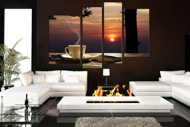 4 piece canvas wall art, living room art, kitchen photo canvas, cup huge canvas art, cup pictures
