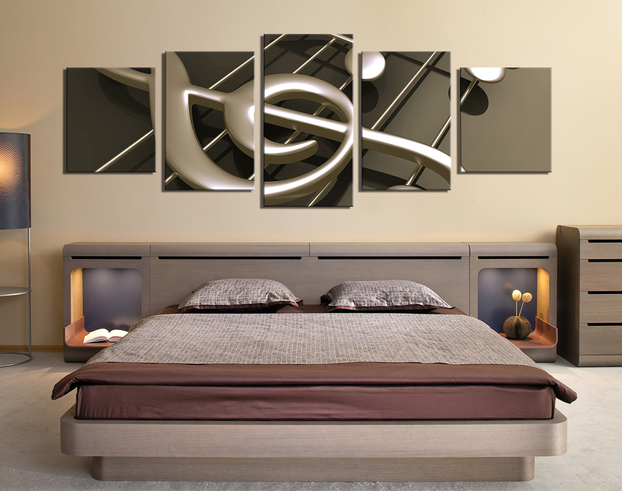 5 Piece Canvas Wall Art, Bedroom Large Pictures, Musical Notes Decor, Music  Artwork