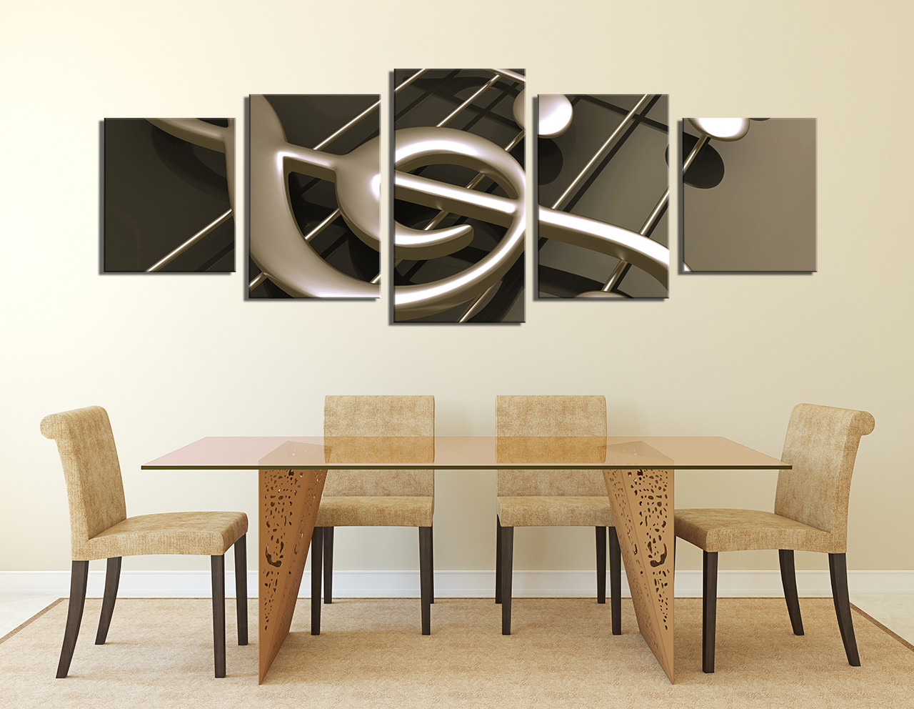5 piece multi panel canvas panoramic canvas wall art. Black Bedroom Furniture Sets. Home Design Ideas