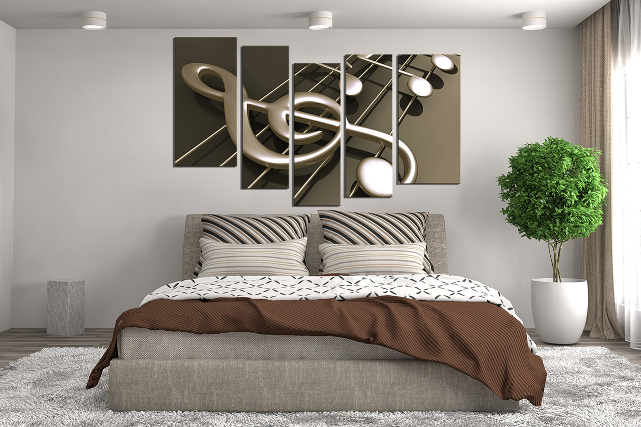 5 piece canvas wall art musical notes canvas photography for Blue and brown wall art