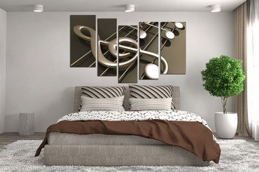 5 Piece Canvas Wall Art, Bedroom Huge Pictures, Musical Notes Decor, Music  Artwork