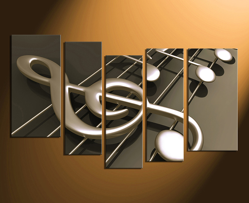 5 Piece Canvas Wall Art, Musical Notes Canvas Photography, Music ...