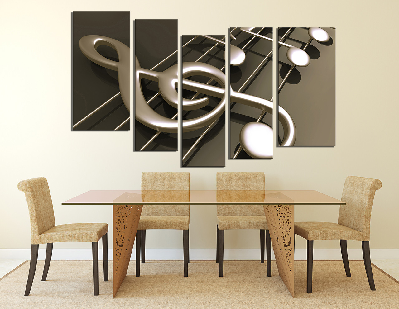 5 Piece Artwork, Dining Room Music Wall Decor, Musical Notes Large  Pictures, Music