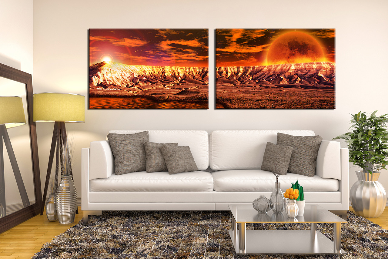 Panoramic Wall Art 2 piece orange canvas landscape wall art